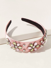 Load image into Gallery viewer, Pink Rhinestone Flower Headband