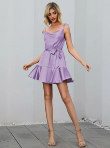 Purple Belted Mini Dress