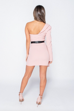 Load image into Gallery viewer, Belted Mini Blazer Pink Dress