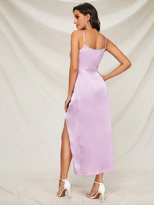 Purple Wrap Satin Slip Dress