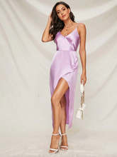 Load image into Gallery viewer, Purple Wrap Satin Slip Dress