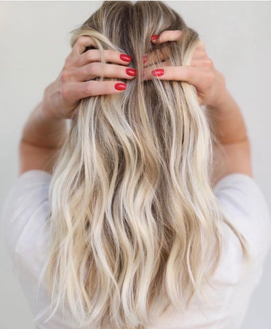 Girl with creamy textured blonde hair