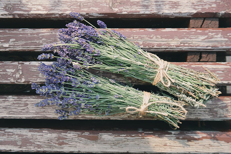Bunch of lavender on a wooden table to help promote hair growth