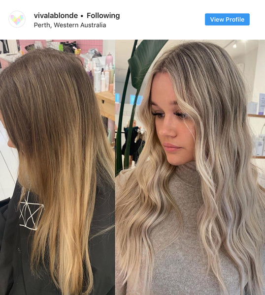 Viva La Blonde before and after ashy blonde hair transformation