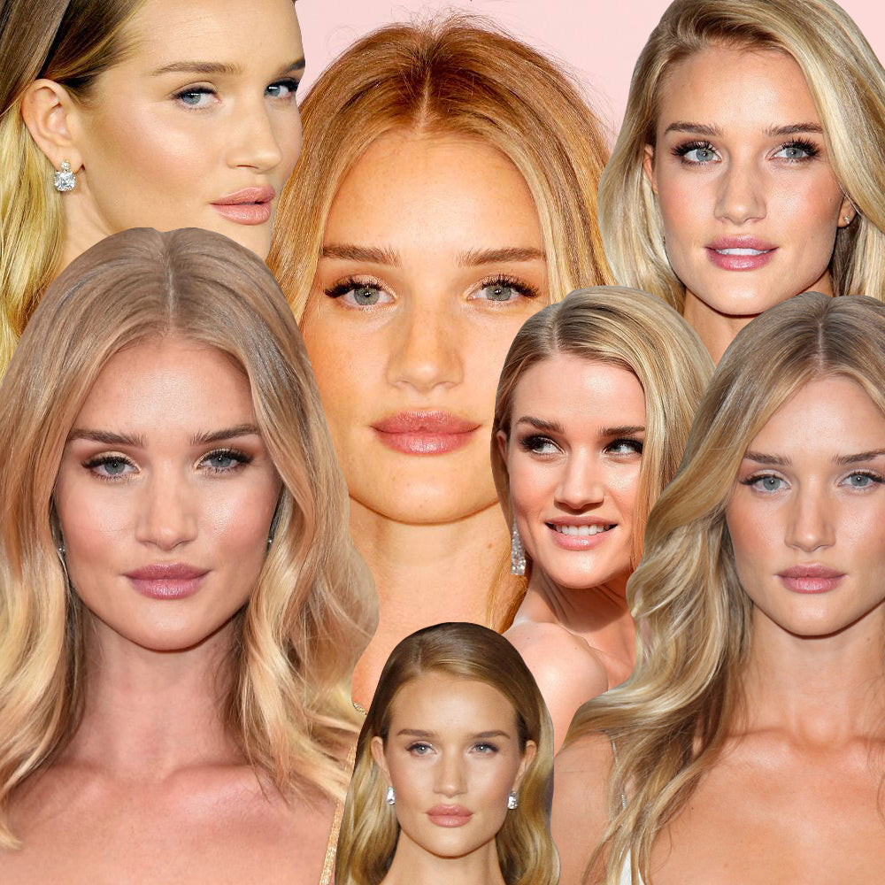 Rosie Huntington Whiteley blonde hair beach wave style image collage