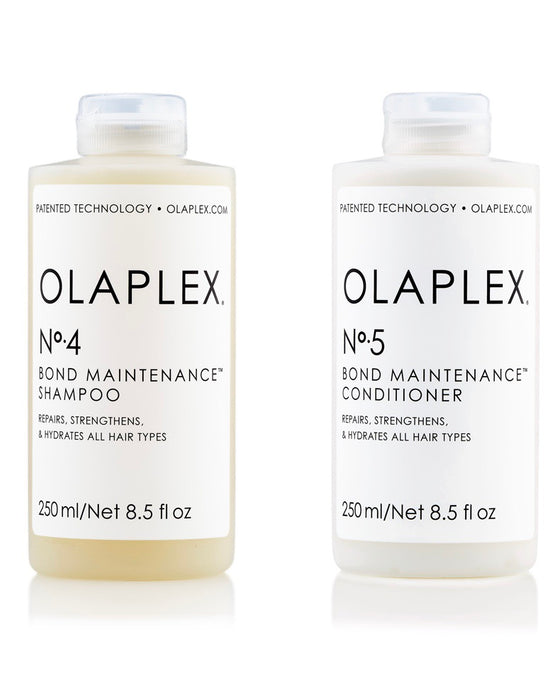 OLAPLEX No.4 & OLAPLEX No.5 shampoo and conditioner on white background