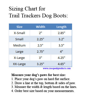 Sizing Chart for Doggles Trail Trackers Dog Boots