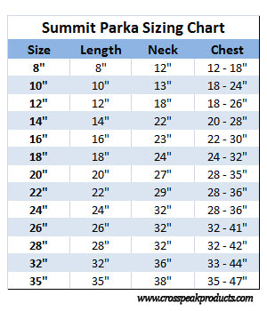 summit parka sizing chart