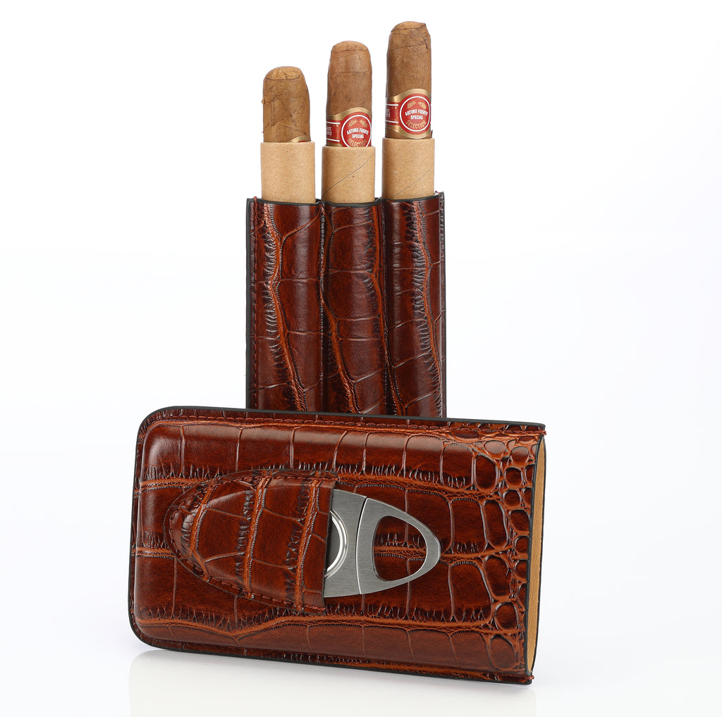 Brown Leather Cigar Case Holder for 3 Cigars with Cutter Set by Cross Peak Products - Perfect Size for Shirt Pockets Golf Cart or Travel by Cross Peak Products