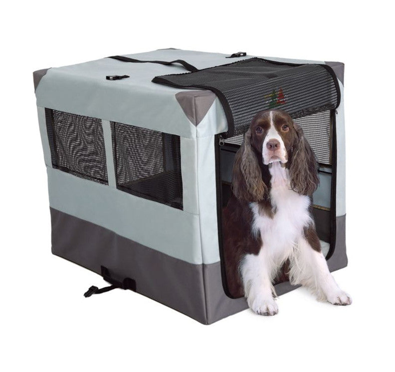 Dog Using Midwest Canine Camper Sportable Travel Pet Crate