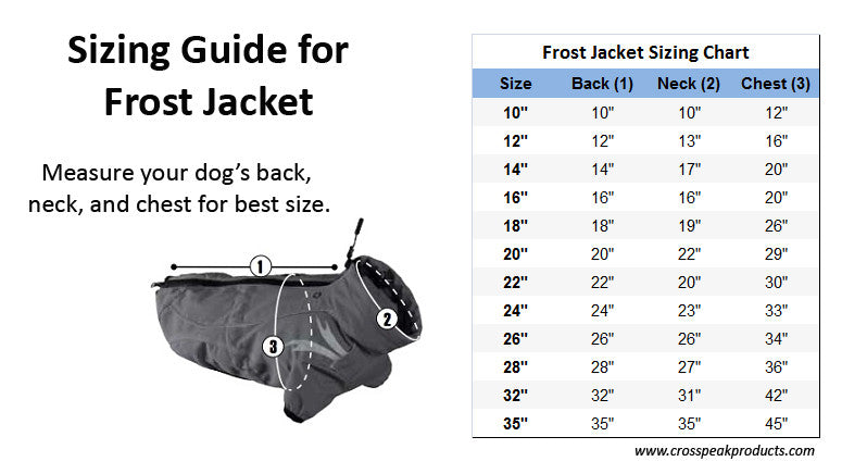 Hurtta Frost Dog Jacket Sizing Guide for Ordering