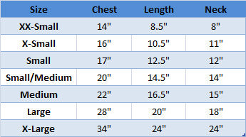 kong 3-in-1 dog jacket sizing chart