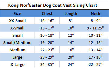 Noreaster Dog Coat Sizing Chart by Kong