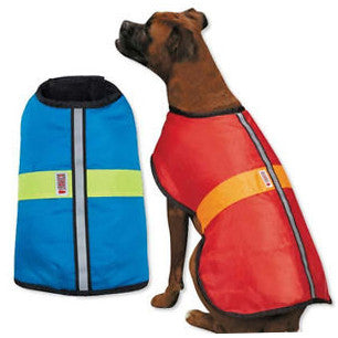 Kong Nor'easter dog coat in blue & red