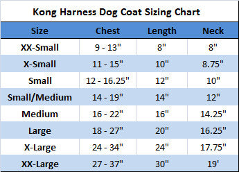 Kong dog harness coat sizing chart