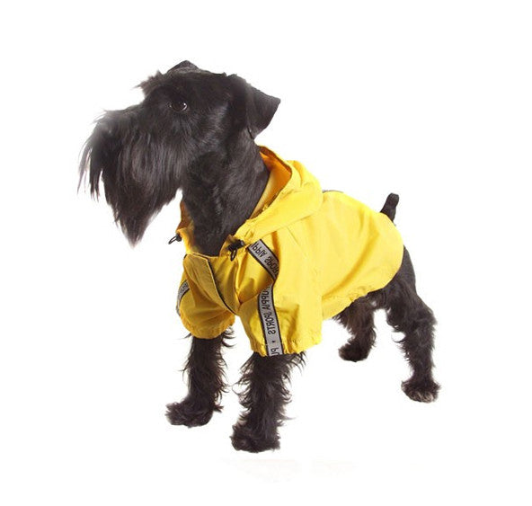 Yellow Jumper Dog Raincoat for Walking & Hiking Outside
