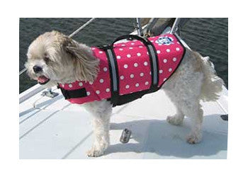 Paws Aboard Designer Dog Life Jacket in Pink Polka Dots