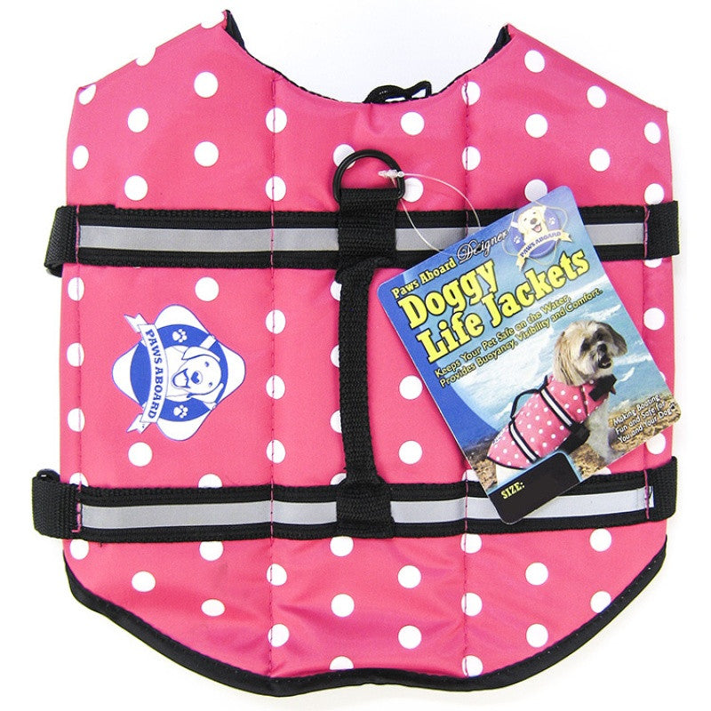 New Paws Aboard Designer Dog Life Preserver with Pink Polka Dots
