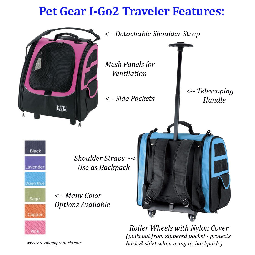 Pet Gear I GO2 Traveler Pet Carrier Features for Dogs & Cats