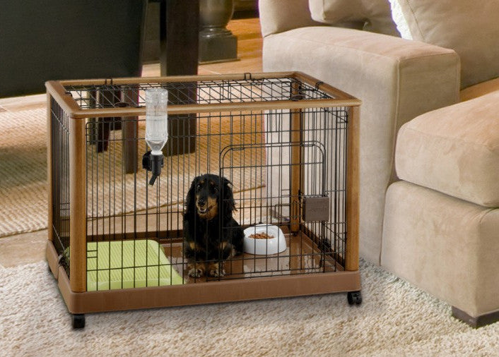 mobile wood dog crate by richell