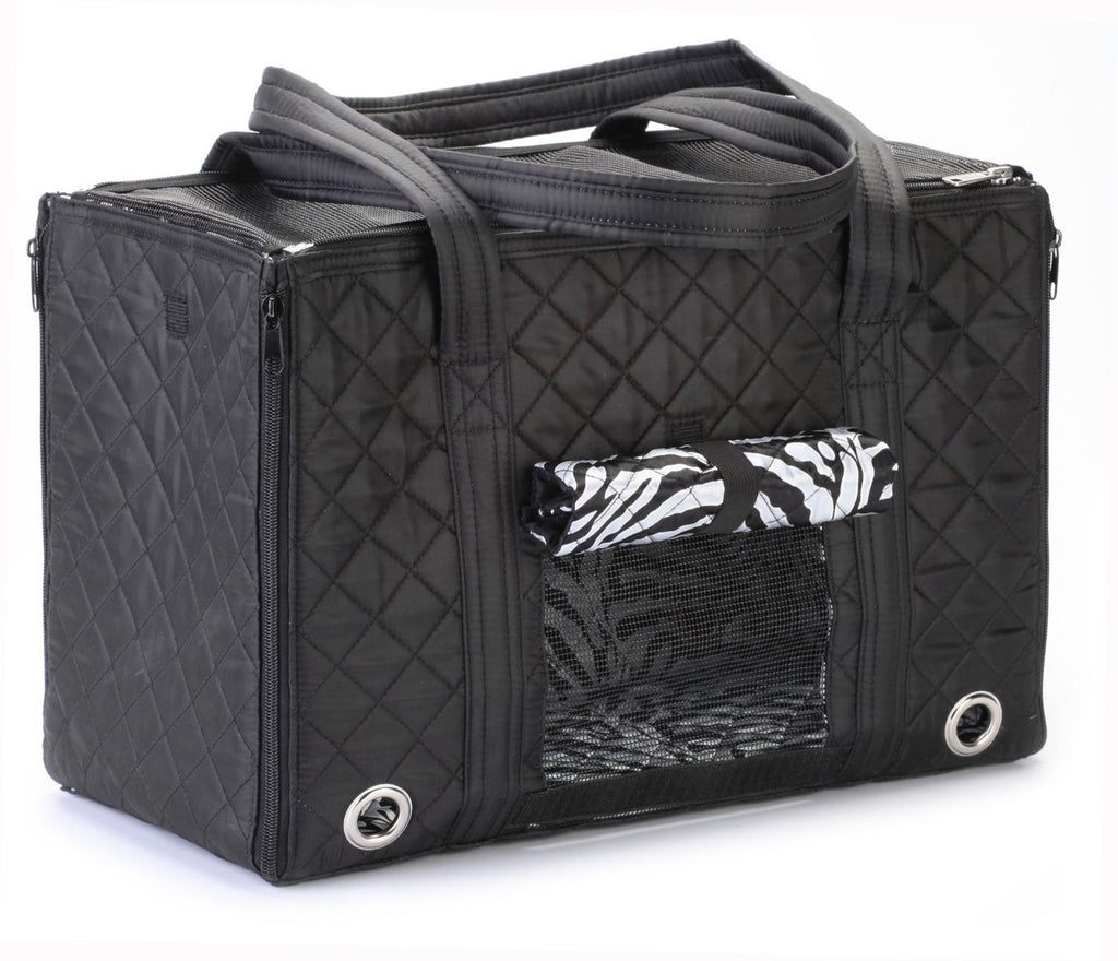 Zebra Lined Pet Carrier for Small Dogs by Sherpa