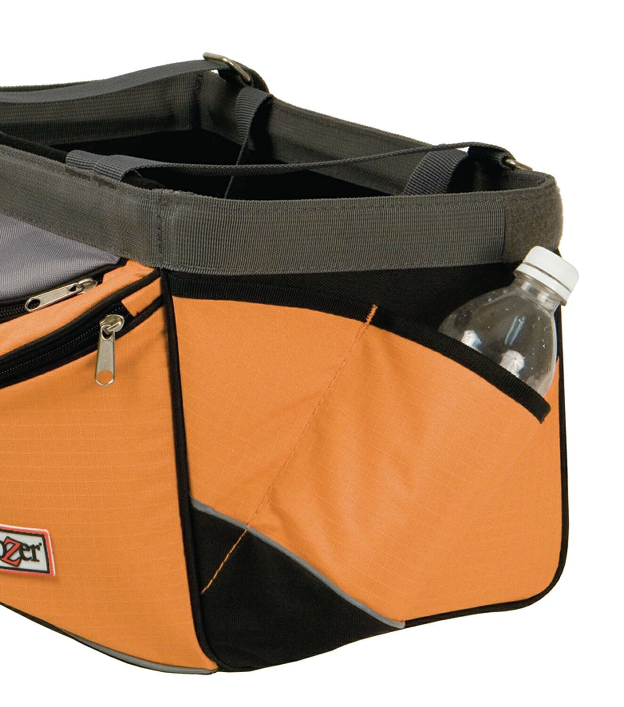 Snoozer Sporty Dog Bike Basket Orange Side Pocket for Waterbottle