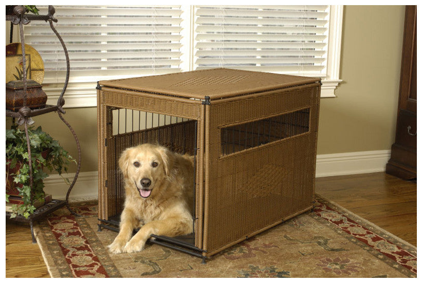 Mr. Herzher's Designer Wicker Dog Crates make great dens!