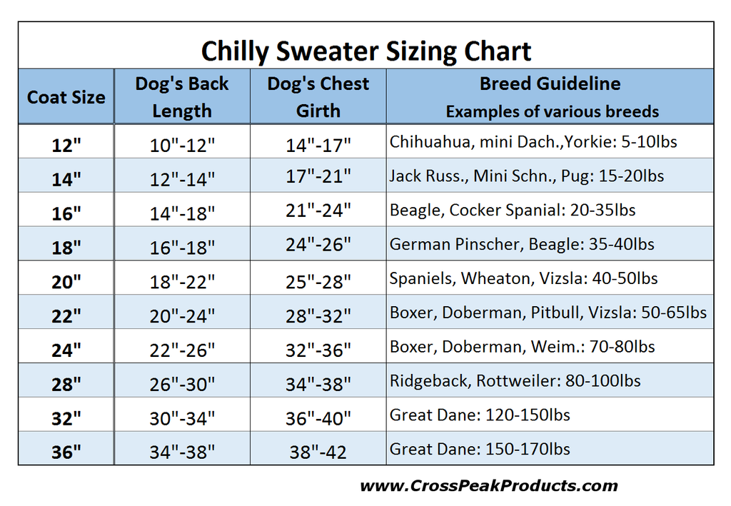 chilly sweater sizing chart