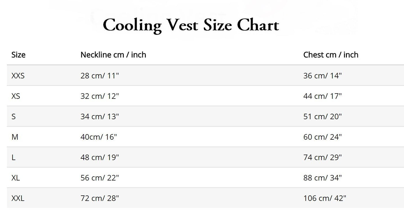 canine pet cooling vest sizing chart