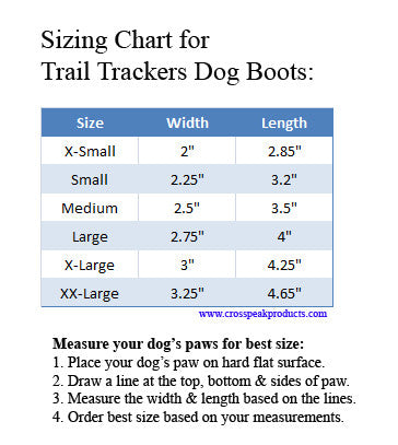Sizing Chart for Trail Trackers Dog Boots