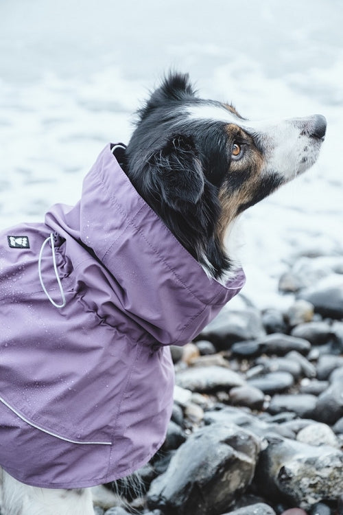 hurtta drizzle rain jacket for dogs in currant