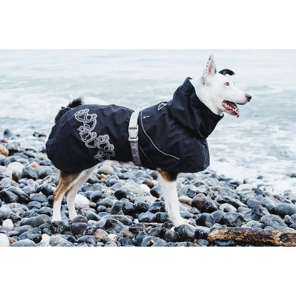 drizzle dog rain coat by hurtta raven black color