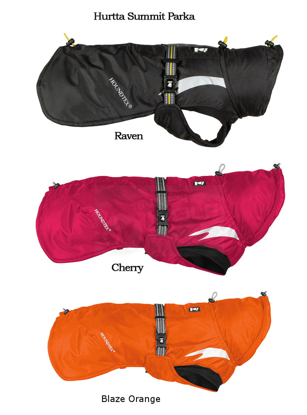 hurtta summit parka raven cherry blaze orange colors