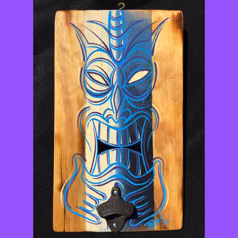 BLUE TIKI BOTTLE OPENER Sign