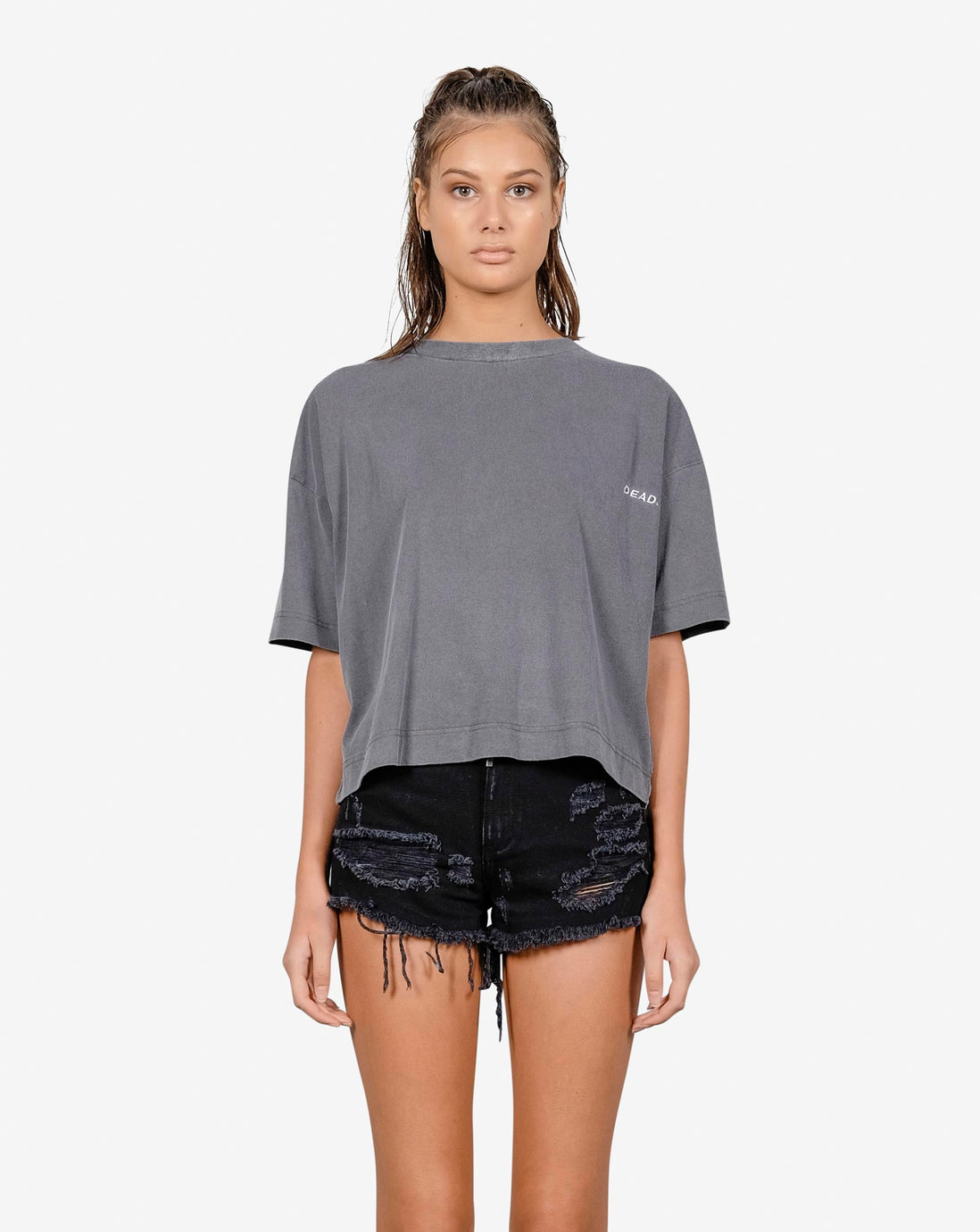 CALI CROP TEE - GREY