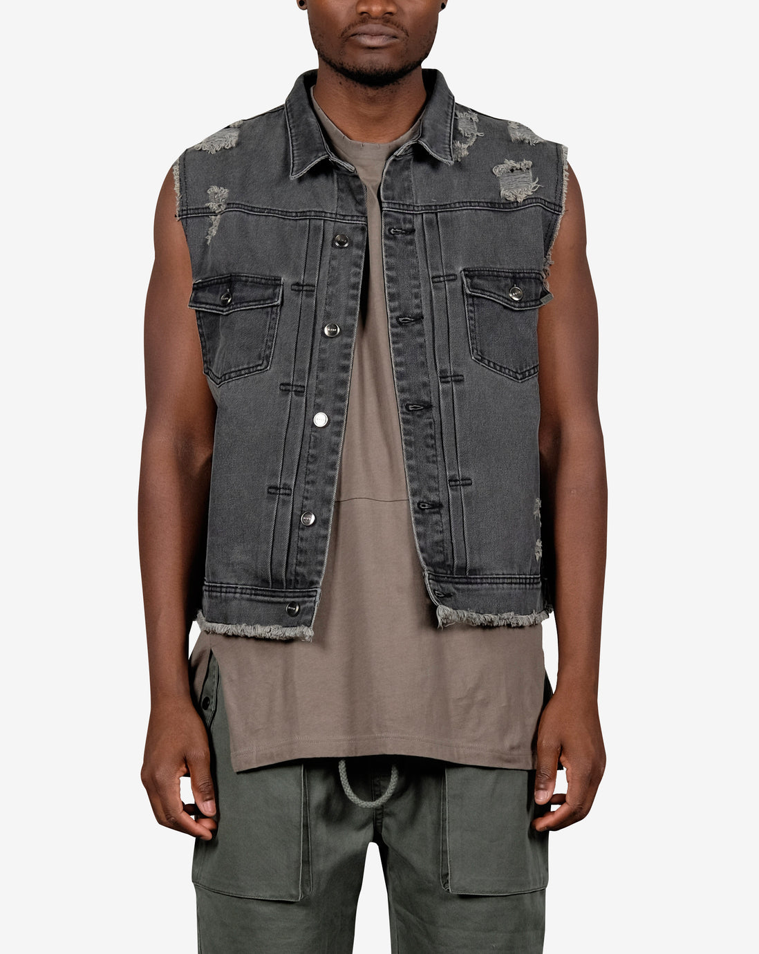 DESTROY DENIM VEST- UNI-SEX - WASHED BLACK