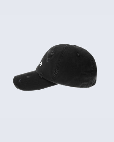 DISTRESSED STRAP BACK- BLACK