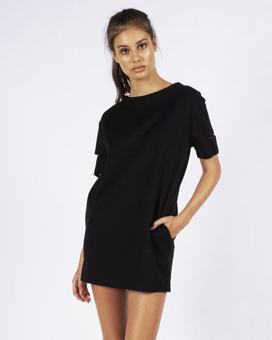 PRE ORDER - CUT OUT TEE DRESS - BLACK