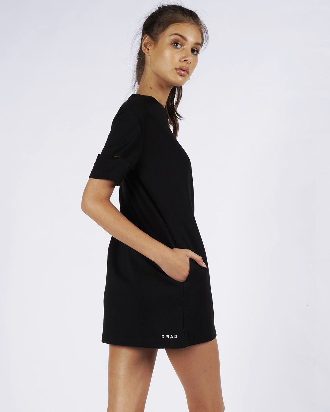 CUT OUT TEE DRESS - BLACK