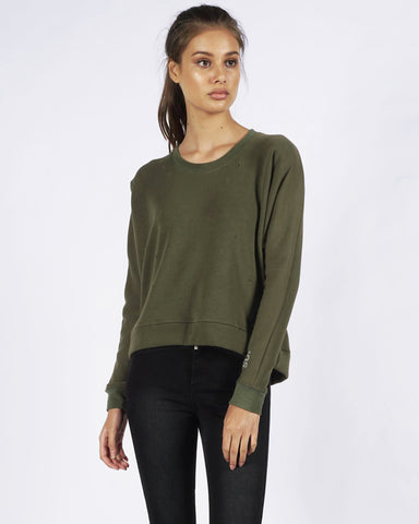 PRE ORDER - DISTRESSED SWEATER - OLIVE