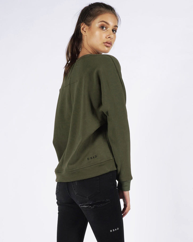 DISTRESSED SWEATER - OLIVE
