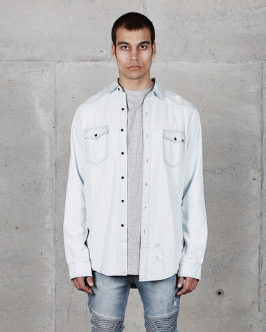 PRE ORDER - DESTROYED DENIM SHIRT - LIGHT BLUE