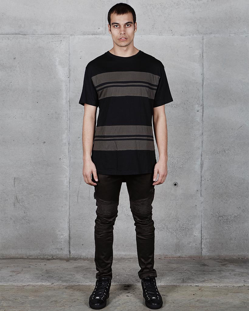 SCOOP STRIPE TEE - BLACK/OLIVE