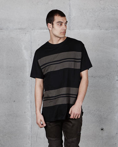 PRE ORDER - SCOOP STRIPE TEE - BLACK/OLIVE