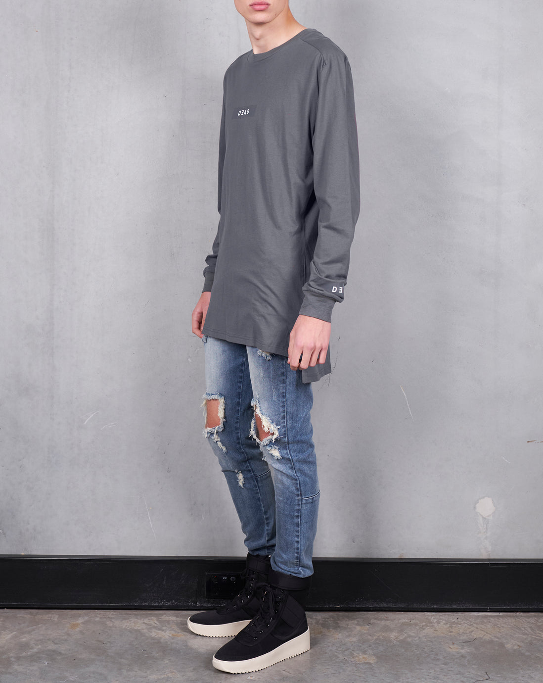 STEPPED BOX LOGO LONG SLEEVE TEE - ASH