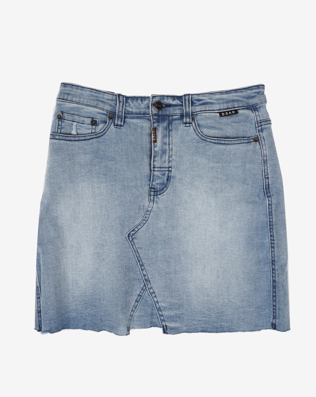 MID RISE RAW SKIRT - INDIGO