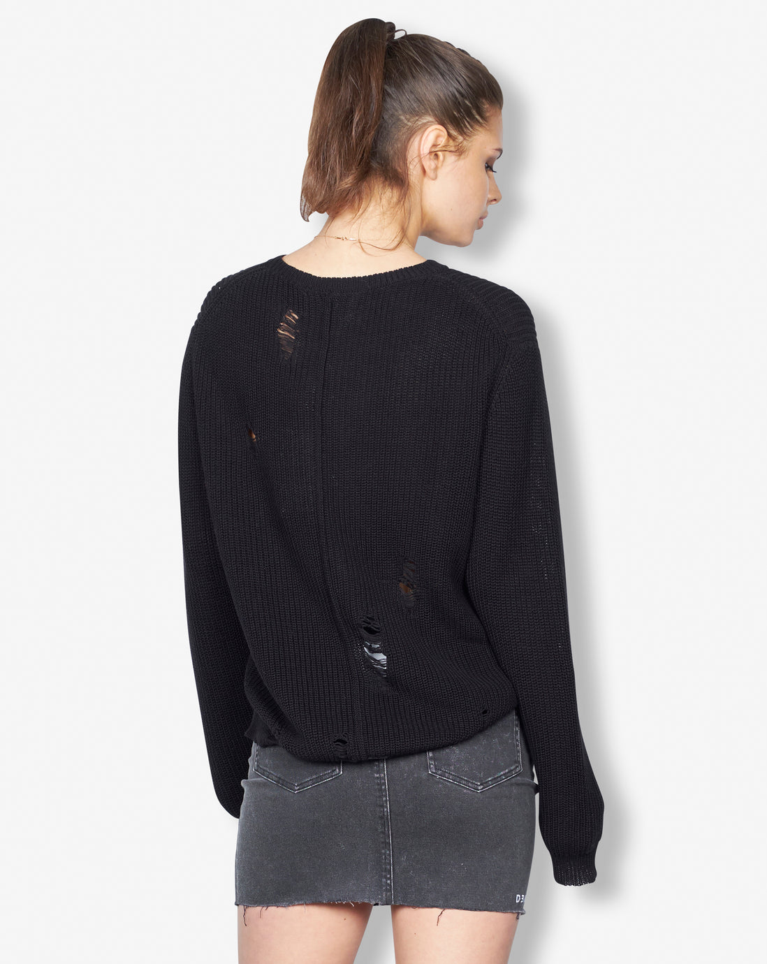 CABLE KNIT CREW BLACK