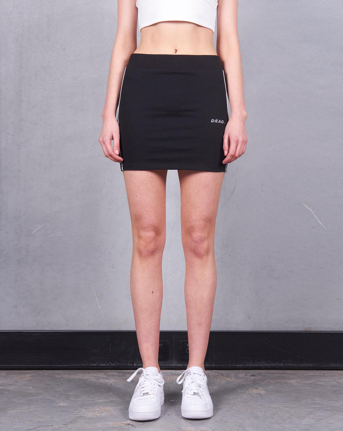 JERSEY TRACKS MINI SKIRT - BLACK