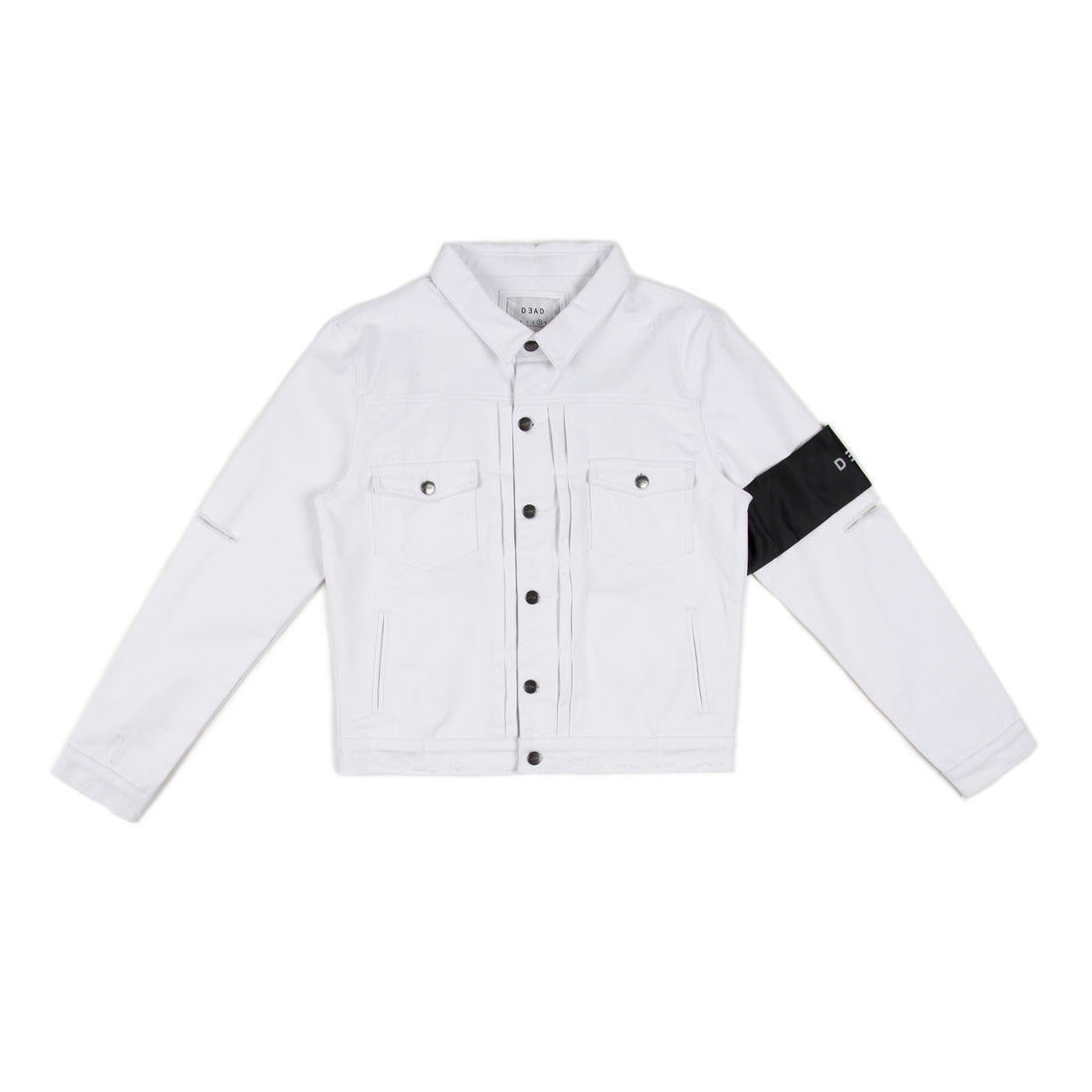 WHITE TRASH DENIM JACKET -WHITE/BLACK