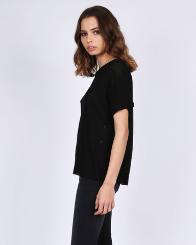 DESTROYED LINEN TEE - BLACK